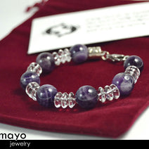 PISCES BRACELET - Chevron Amethyst Beads and Clear Quartz