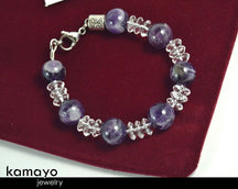 "PISCES BRACELET <span class=""subtitle"">- Chevron Amethyst Beads and Clear Quartz </span><span class=""findings"">- Stainless Steel Findings </span><span class=""length"">- 7 Inches </span>"