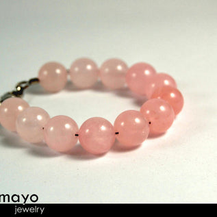 "ROSE QUARTZ BRACELET <span class=""subtitle subtitle-1"">- Large Round Natural Pink Beads </span>"
