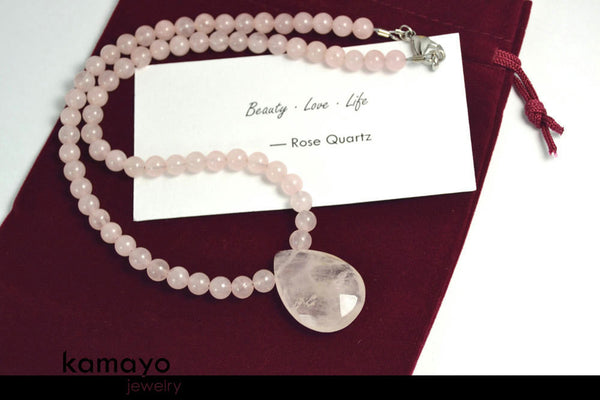 ROSE QUARTZ NECKLACE - Faceted Teardrop Pendant and Natural Beads