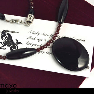 Capricorn Necklace - Large Black Onyx Pendant And Red Garnet Beads