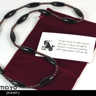 CAPRICORN OPERA NECKLACE - Large Rice Black Onyx Beads and Red Garnet
