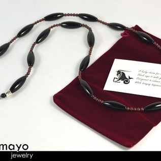 CAPRICORN LARIAT NECKLACE - Large Rice Black Onyx Beads and Red Garnet