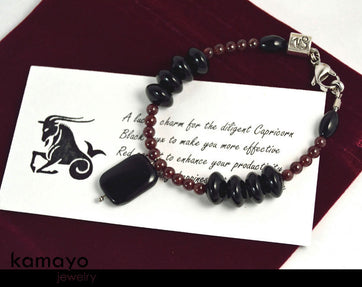 Capricorn Bracelet - Black Onyx Pendant And Red Garnet Beads