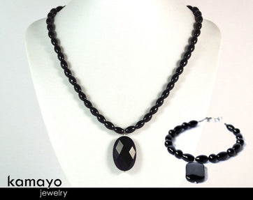 Black Onyx Jewelry Set - Princess Necklace And Bracelet