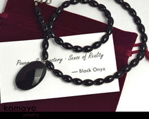 "BLACK ONYX JEWELRY SET <span class=""subtitle"">- Princess Necklace and Bracelet </span><span class=""findings"">- Stainless Steel Findings </span>"