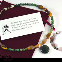 AQUARIUS JEWELRY SET - Women's Choker and Bracelet with Moss Agate Pendants and Jasper Beads