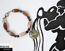 "AQUARIUS JEWELRY SET <span class=""subtitle"">- Women's Choker and Bracelet with Moss Agate Pendants and Jasper Beads </span><span class=""findings"">- Stainless Steel Findings </span>"