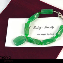 GREEN AVENTURINE BRACELET - Natural Light Rectangle Pendant and Green Beads