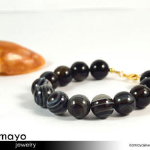BLACK AGATE BRACELET - Round Black and White Agate Beads