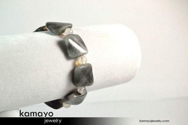 Grey Agate Bracelet - Square Gray Chalcedony Beads