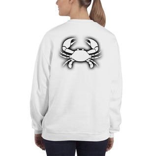 Cancer Sweatshirt For Women - Zodiac Symbol Print On Front And Crab Outline On Back