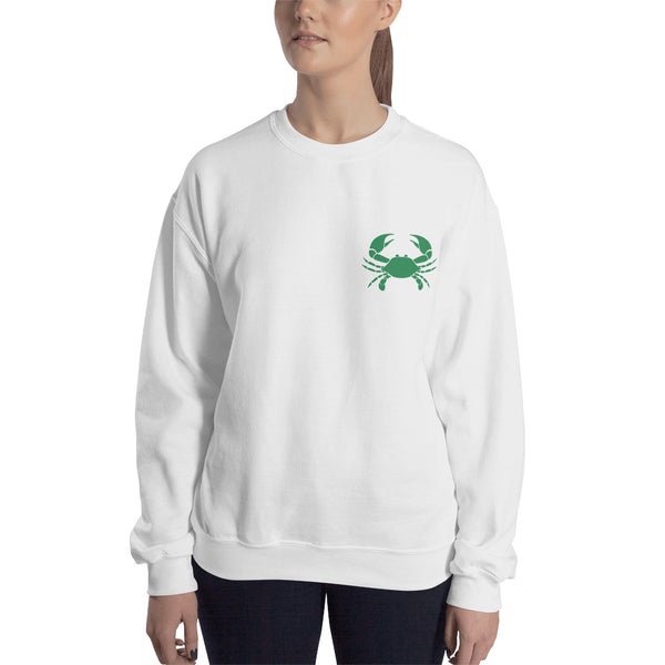 Cancer Sweatshirt For Women - Zodiac Symbol Print On Front And Green Crab On Back
