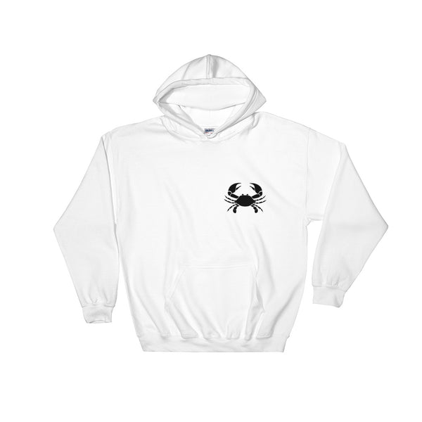 Cancer Hoodie - Zodiac Symbol Print On Front And White Crab On Back