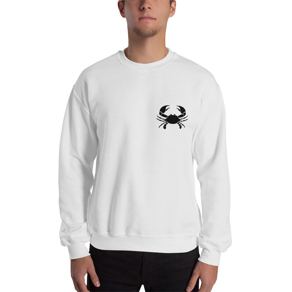Cancer Sweatshirt For Men - Zodiac Symbol Print On Front And Crab Outline On Back