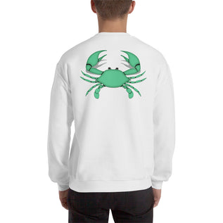 Cancer Sweatshirt For Men - Zodiac Symbol Print On Front And Green Crab On Back