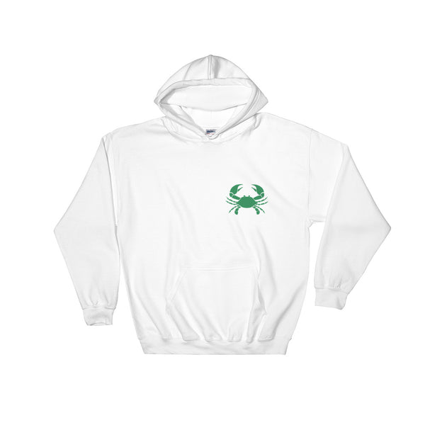 Cancer Hoodie - Zodiac Symbol Print On Front And Green Crab On Back
