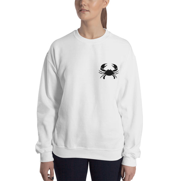 Cancer Sweatshirt For Women - Zodiac Symbol Print On Front And White Crab On Back