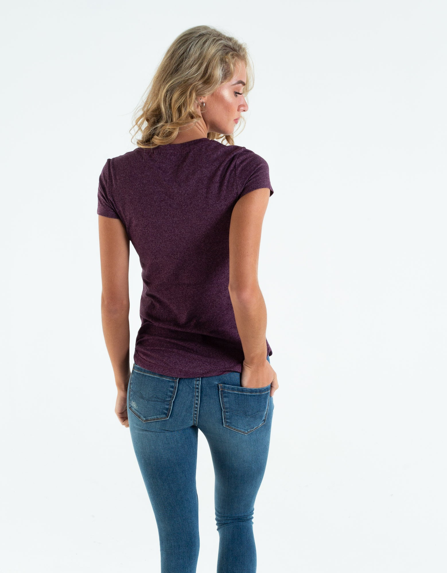 Clodeen Basic Tee Winter Blackberry Melange