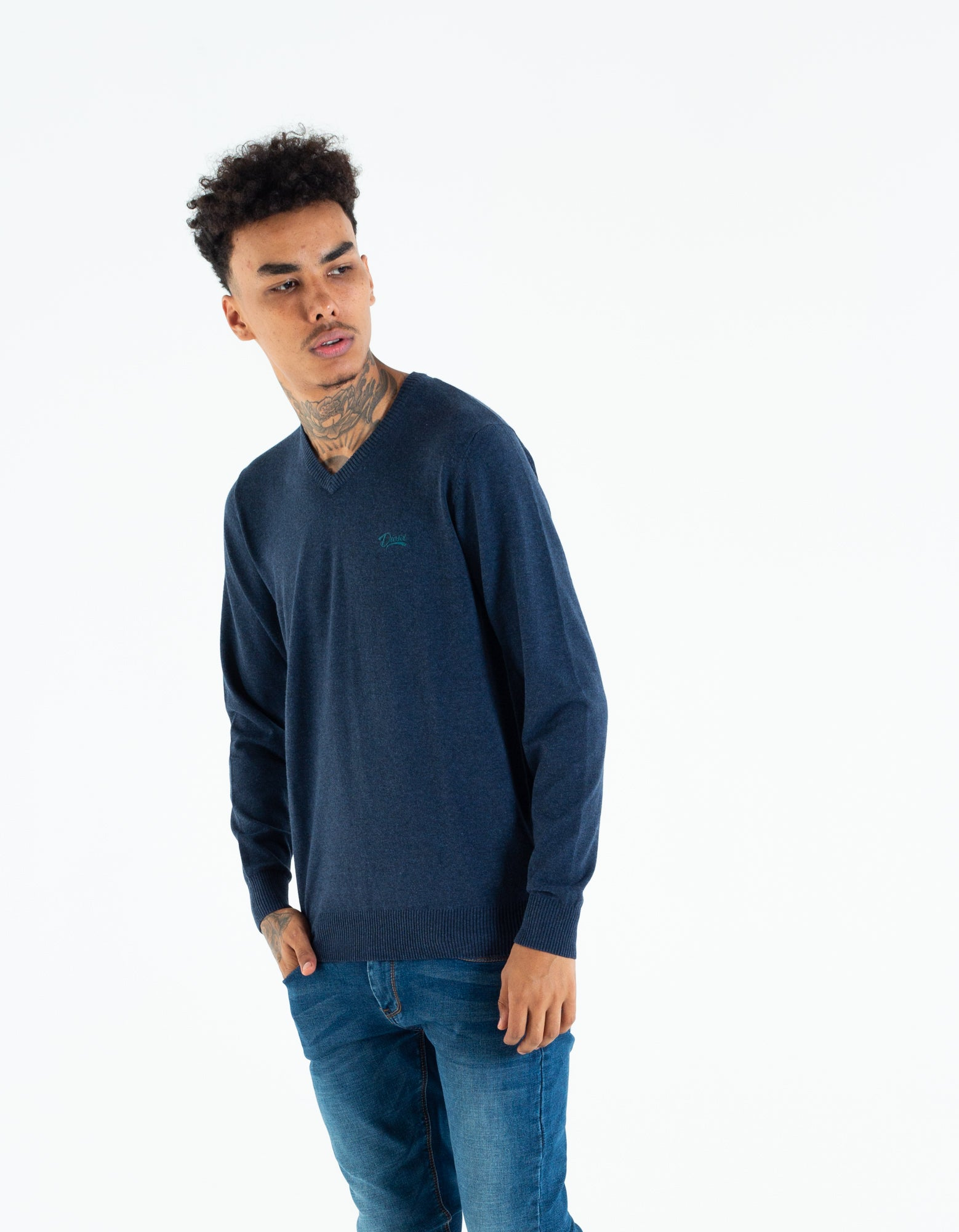 TOM V NECK PURE NAVY MEL