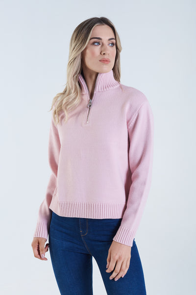 Liberty Knit Half Zip Chalk Pink