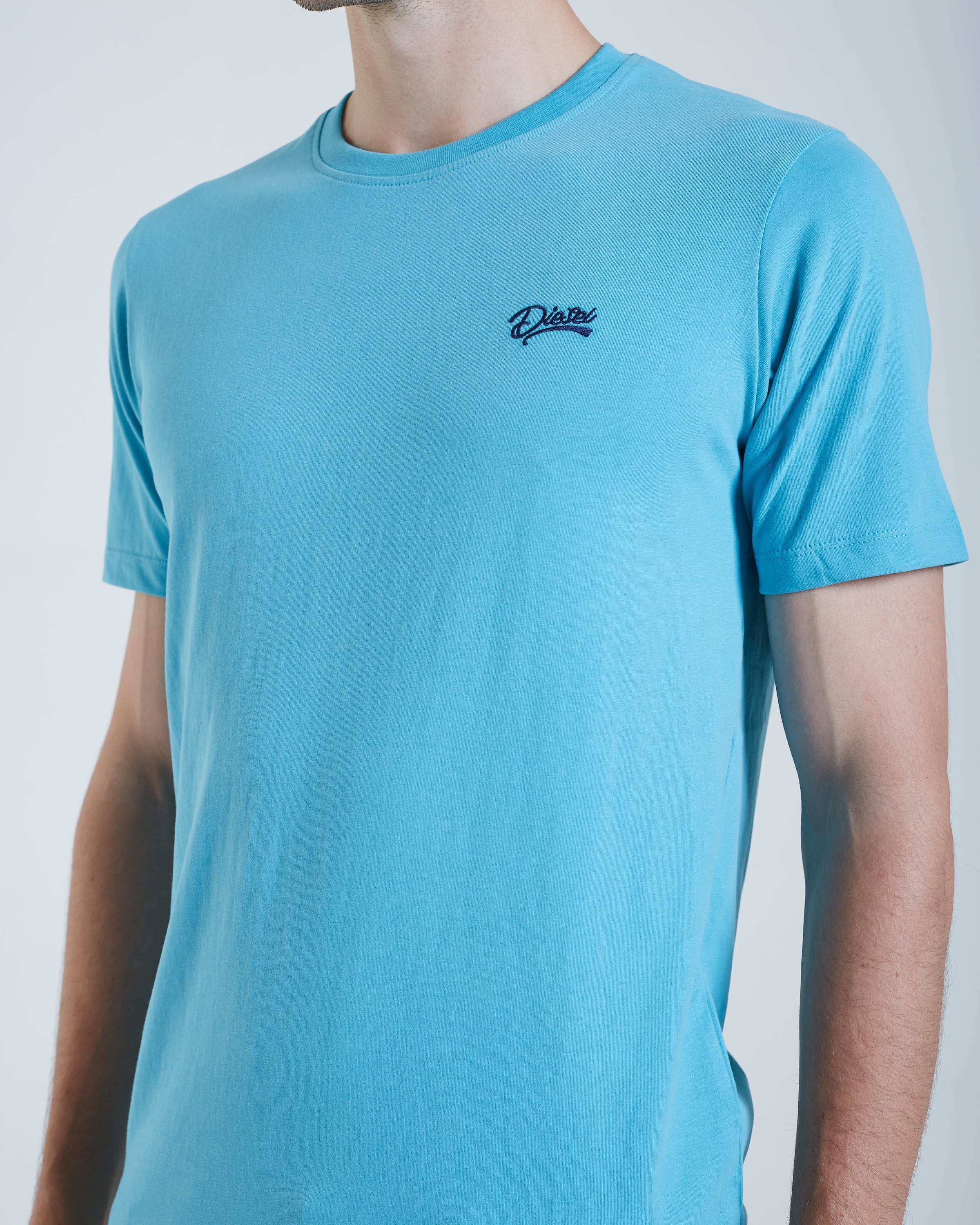 Basic Scott O Neck Tee Aqua