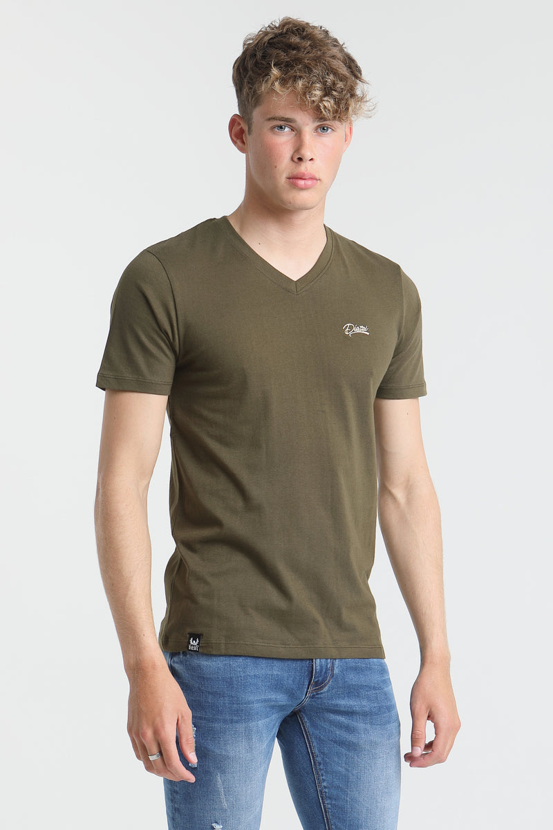 Basic Scott V Neck Tee OLIVE NIGHT