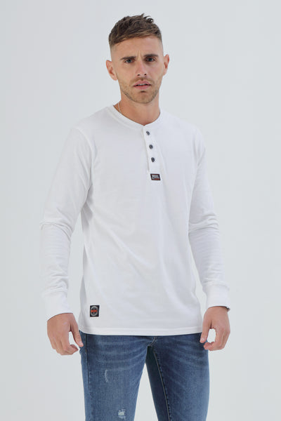 Charlie L/S Henley Optic White