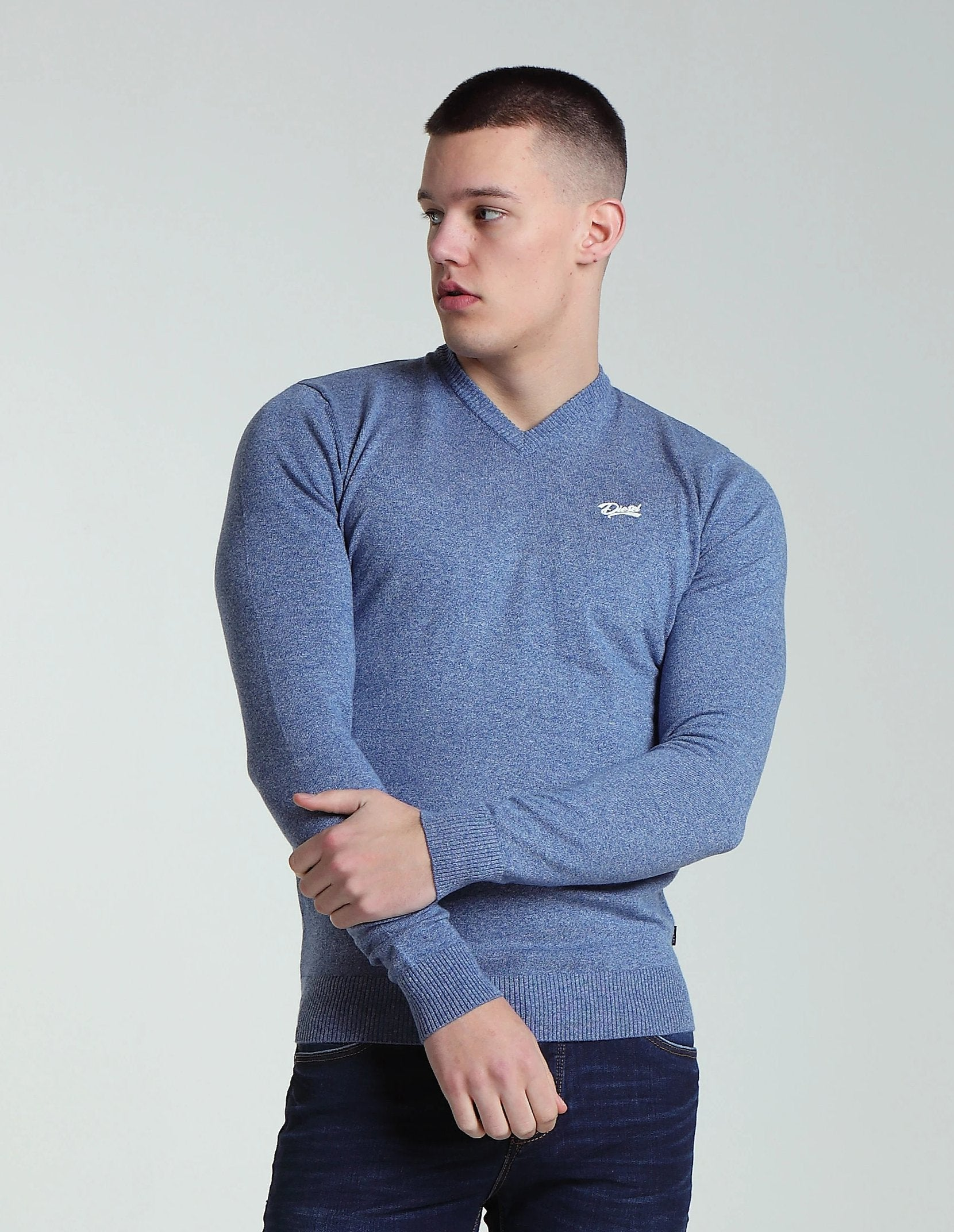 Hans V Neck Blue Melange