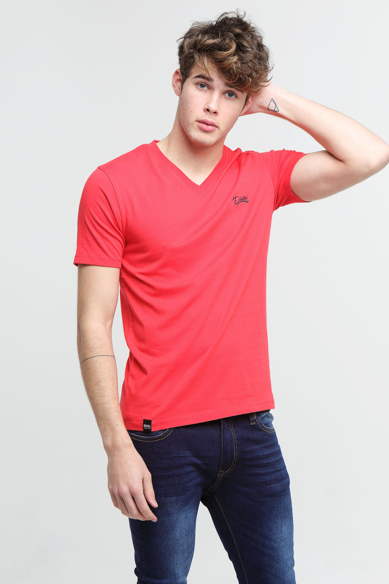 Basic Scott V Neck Tee Poinsettia Red