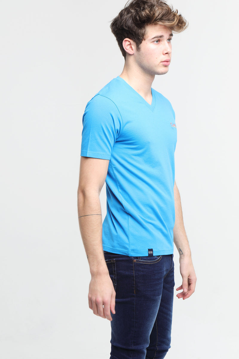 Basic Scott V Neck Tee Egyptian Blue