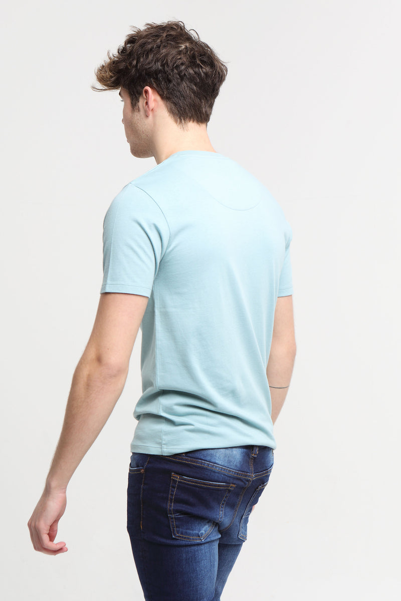 Basic Scott V Neck Tee Aegean Sea