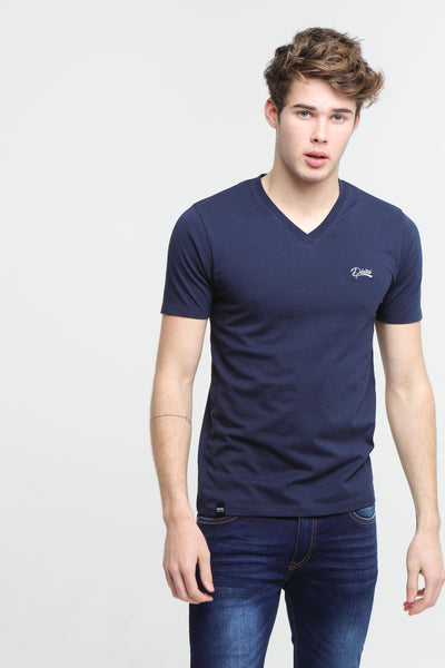 basic scott v neck tee navy iris