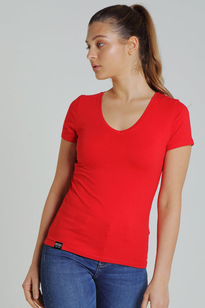 Clara V Neck Basic Vermillion Red