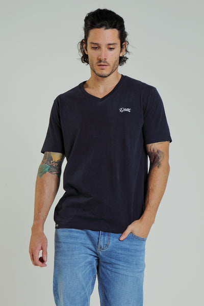 basic scott v neck tee pure navy
