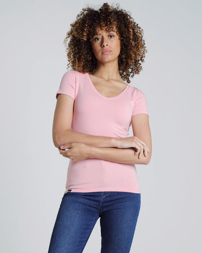 Clara V Neck Basic Blush