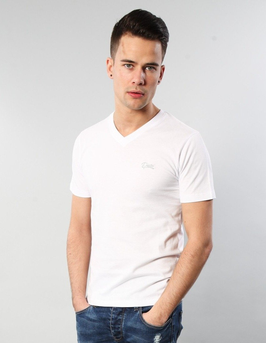 Basic Scott V Neck Tee OPTIC WHITE