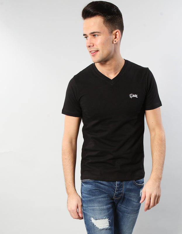 Basic Scott V Neck Tee BLACK