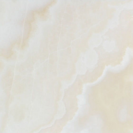 12 x 12 Polished White Onyx Tile - (Cross-Cut)