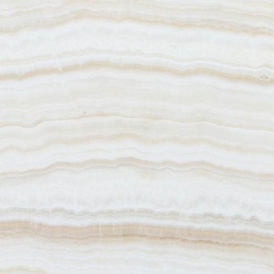 12 x 12 Polished White Onyx Tile - (Vein-Cut)