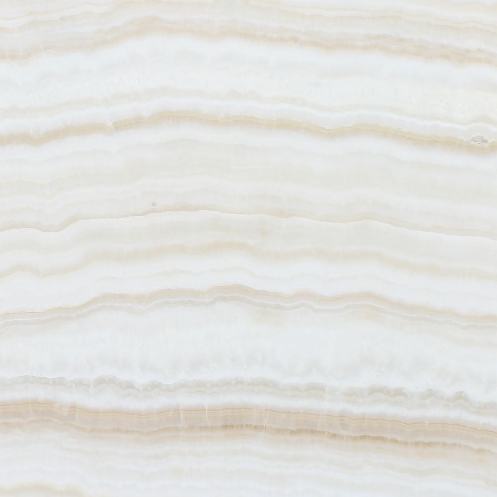 12 x 12 Polished White Onyx Tile - (Vein-Cut) Sample - Tilephile