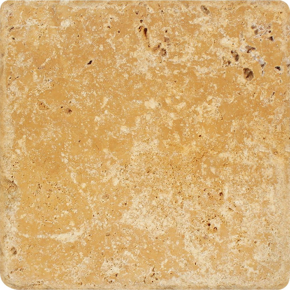 12 x 12 Tumbled Gold Travertine Tile - Tilephile