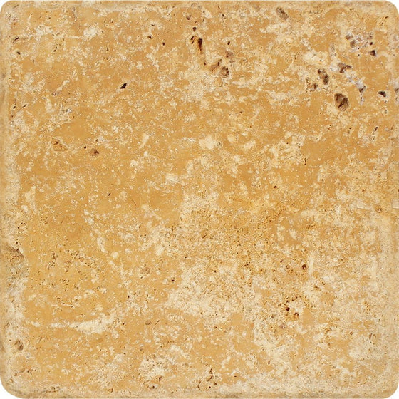 12 x 12 Tumbled Gold Travertine Tile