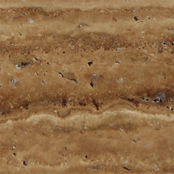12 x 12 Unfilled, Brushed Noce Exotic (Vein-Cut) Travertine Tile - Tilephile