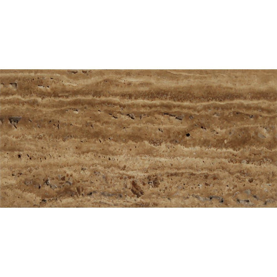12 x 24 Unfilled, Brushed Noce Exotic (Vein-Cut) Travertine Tile - Tilephile