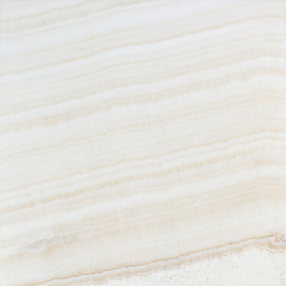 18 x 18 Polished White Onyx Tile - (Vein-Cut) - Tilephile