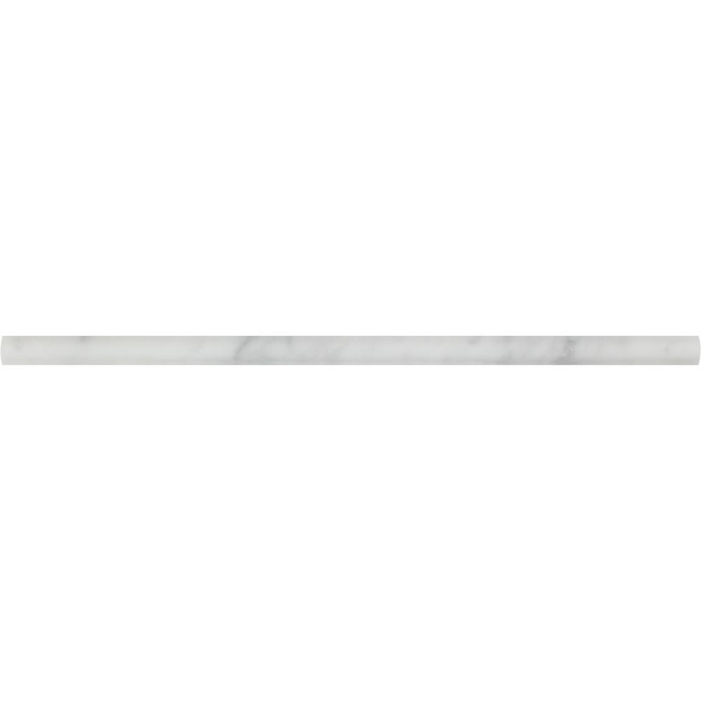 1/2 x 12 Honed Bianco Carrara Marble Pencil Liner Sample - Tilephile