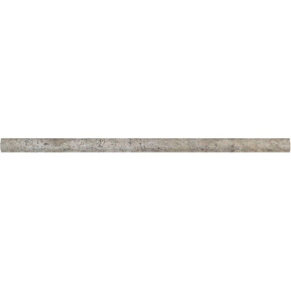 1/2 x 12 Tumbled Silver Travertine Pencil Liner Sample - Tilephile