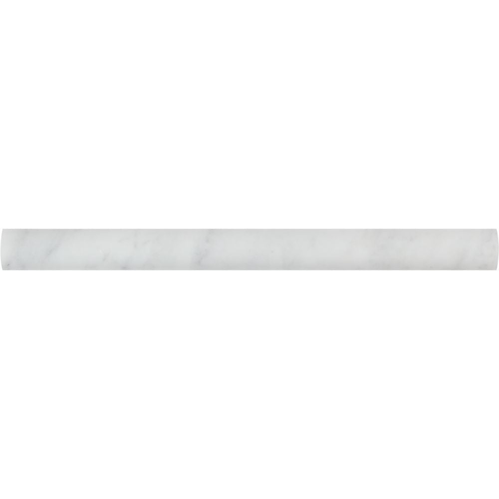 1 x 12 Honed Bianco Carrara Marble Quarter Round Trim Sample