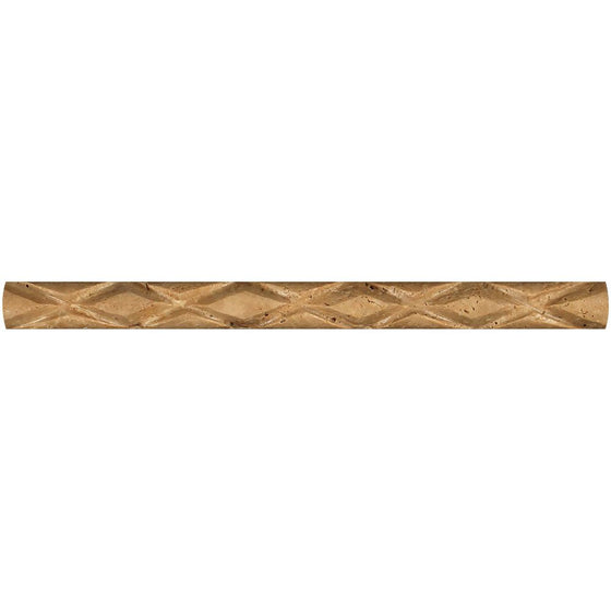 1 x 12 Honed Noce Travertine Diamond Rope Liner - Tilephile